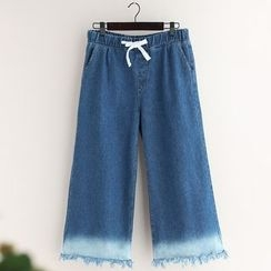 11.STREET - Gradient Fray Hem Drawstring Wide Leg Jeans