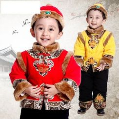 Emperial - Kids Set: Furry Trim Frog Embroidered Button Top + Pants + Hat