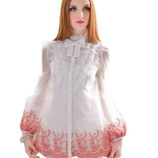 Dabuwawa - Embroidered Ruffled Blouse