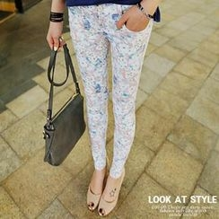 REDOPIN - Floral Patterned Skinny Pants