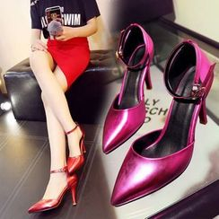 Colorful Shoes - Metallic Ankle Strap Pointy Pumps