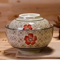 Time4Tea - Floral Print Ceramic Bowl with Lid
