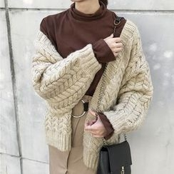 Dasim - Cable-Knit Chunky Cardigan