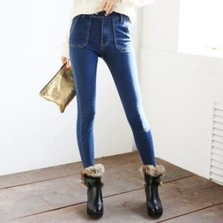 kenzi w - High-Waist Washed Skinny Jeans
