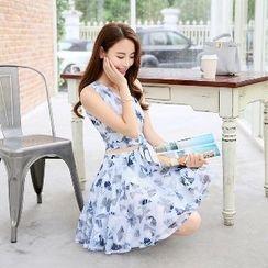 Romantica - 套裝: 無袖印花短款上衣 + 印花A字短裙