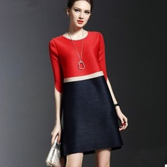 la nuit - Colour Block Elbow-Sleeve A-line Dress