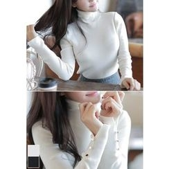 MyFiona - Turtle-Neck Buttoned-Sleeve Knit Top