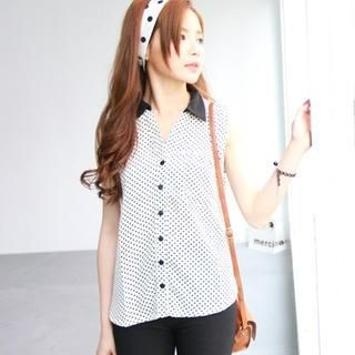 rico - Contrast-Collar Dotted Sleeveless Blouse
