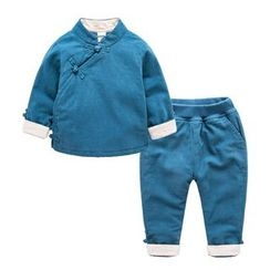 Kido - 童装套装: 中式钮扣长袖上衣 + 裤