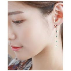 Miss21 Korea - Rhinestone Long Drop Earrings