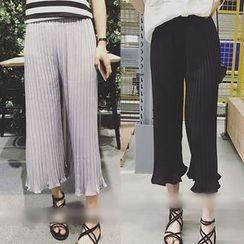 QZ Lady - Pleated Chiffon Wide Leg Pants