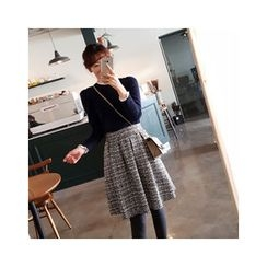 LEELIN - A-Line Tweed Skirt