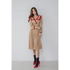 migunstyle - Contrast-Trim Pleated-Hem Long Dress