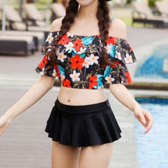 Roseate - Women Floral Print Off-Shoulder Bikini / Men Swim Trunks