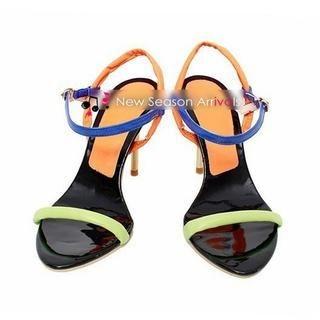77Queen - Color-Block Heel Sandals