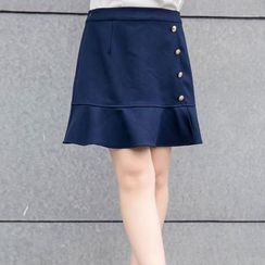 CAIDOBLE - Buttoned Ruffled A-Line Skirt