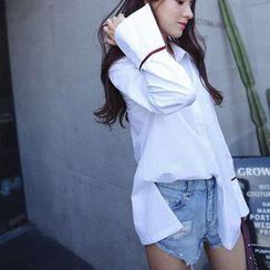 兰芝 - 配色边喇叭袖衬衫