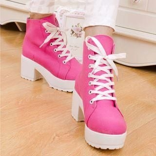 Clair Fashion - Platform Chunky-Heel Canvas Sneakers