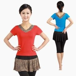 Dancing Queen - Leopard Panel Short Sleeve Dance T-Shirt