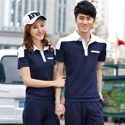 Tabla - Couple Matching Set: Two-Tone Polo Shirt + Sweatpants