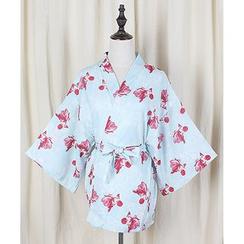 GOGO Girl - Floral Print Kimono Jacket with Sash