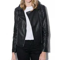 Chicsense - Faux-Leather Biker Jacket