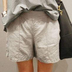 NANING9 - Seam-Front Linen Shorts