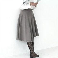 GLAM12 - Asymmetric-Hem A-Line Skirt