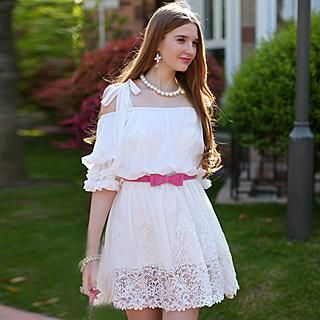 Dabuwawa - Cutout-Sleeve Lace-Hem Chiffon Dress
