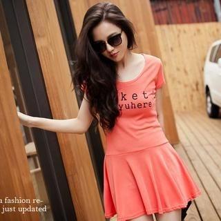 PUFII - Message-Print Short-Sleeve T-Shirt Dress