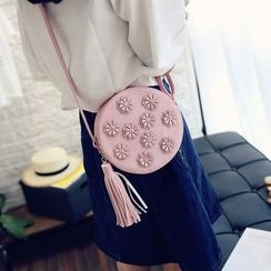 LineShow - Floral Tasseled Round Shoulder Bag