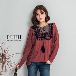 PUFII - Fringed Knit Top