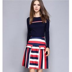 Rosesong - Set: Long-Sleeve Knit Top + Striped A-Line Skirt
