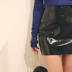 DABAGIRL - Patent Mini Pencil Skirt