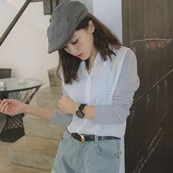 Tokyo Fashion - Set: Panel-Sleeve Shirt + Striped Camisole