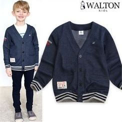 WALTON kids - Boys Lettering-Embroidered Cardigan