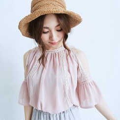 BAIMOMO - Cutout-Shoulder Lace Trim Top