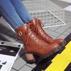 Kireina - Chunky-Heel Platform Buckled Short Boots