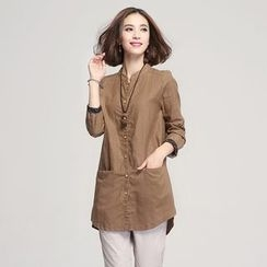 Jiuni - Stand-collar Long Blouse