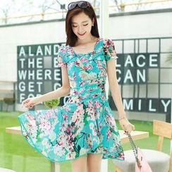AiSun - Short-Sleeve Print Chiffon A-Line Dress