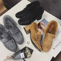 Hipsole - Faux-Fur Trim Loafers