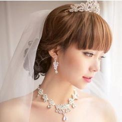 Luxury Style - Bridal Set: Tiara + Necklace + Clip-On Earrings