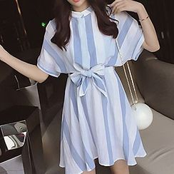 Tulander - Stripe Stand Collar Short-Sleeve Dress