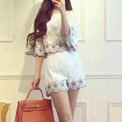 lilygirl - Set: Embroidered Short-Sleeve Top + High-Waist Shorts