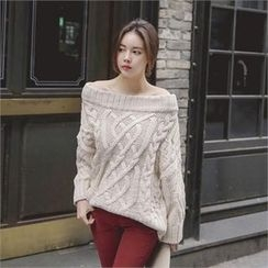 TOM & RABBIT - Off-Shoulder Cable-Knit Sweater