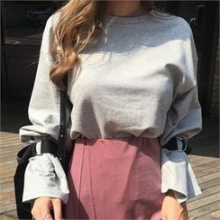 LIPHOP - Belted-Sleeve Round-Neck T-Shirt