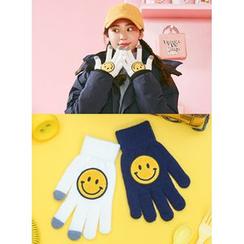 icecream12 - Smile-Appliqué Gloves