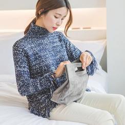 WITH IPUN - Turtle-Neck Fringe-Trim Sweater