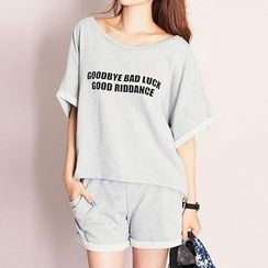 Kissu - Set: Piped Short-Sleeve Top + Shorts