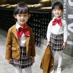 Matatabi - Kids Set: Notched-Lapel Buttoned Jacket + Long-Sleeve Blouse + Pleated Plaid Skirt